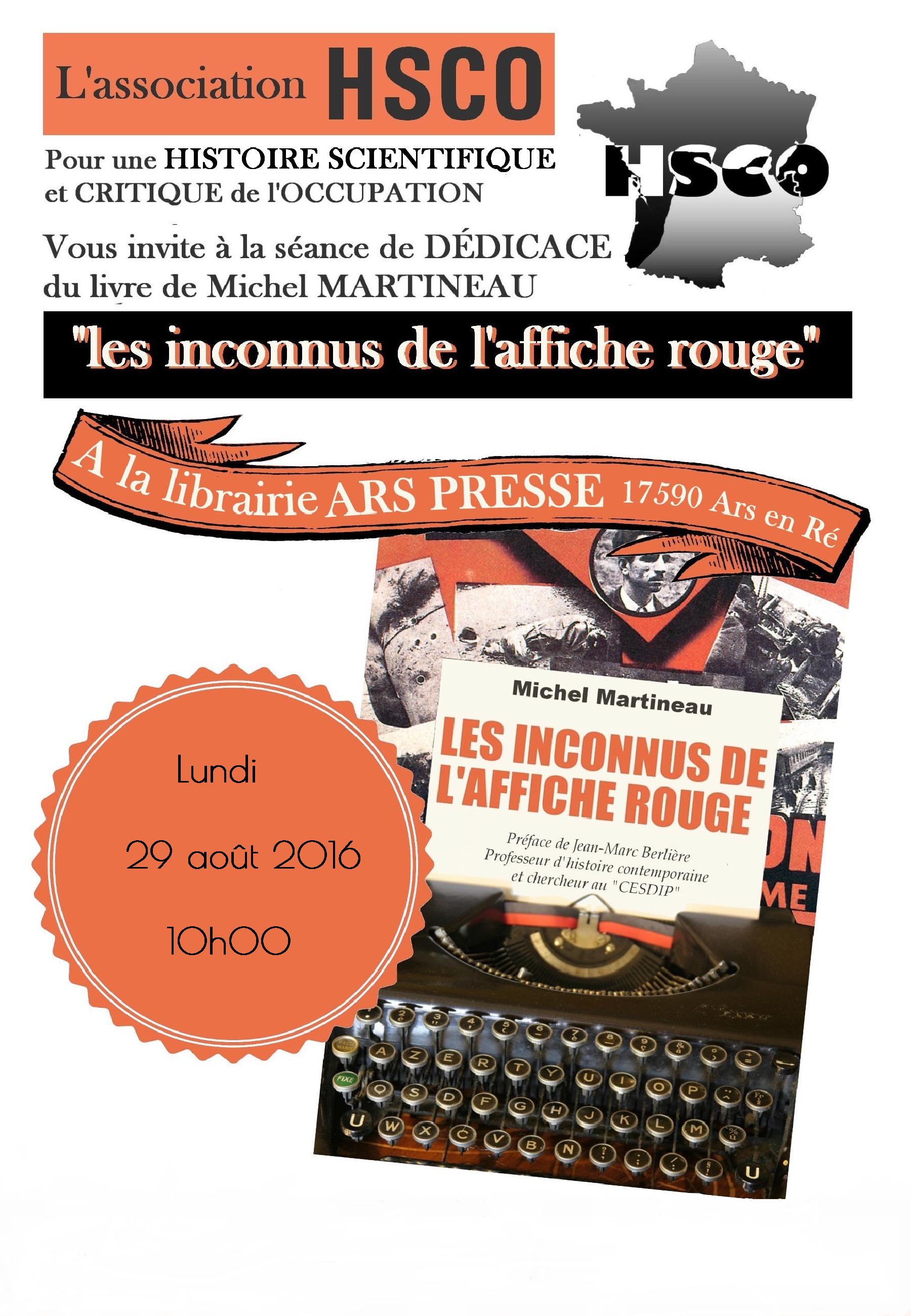 affichette dédicace Michel Martineau